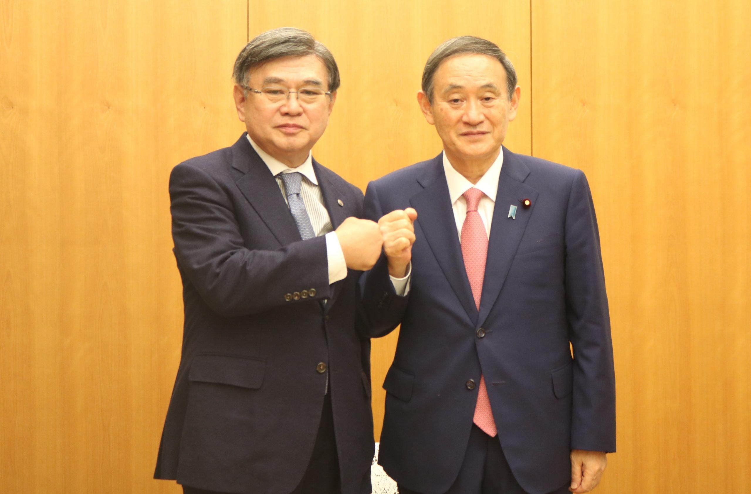 菅首相と神津会長